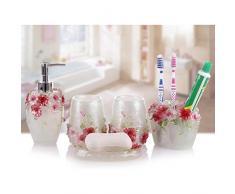 Fuloon Estilo rural Resina 5 piezas accesorios de baño Set Dispensador de jabón / Soporte cepillo de dientes / vaso / plato de jabón (Blanco)