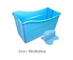 WU LAI Bañera Portátil | Bañera De Hidromasaje para Adultos | Bañera Plegable | Piscina Doméstica | Baño para Niños,Blue-93x46x55cm