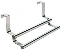 Wenko 79172100 Twin - Toallero doble de acero inoxidable para puertas (23,5 x 10,5 x 8,5 cm)