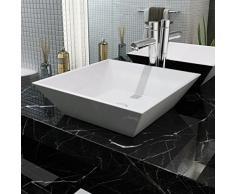 6310a800cd7d vidaXL Lavabo Moderno Cuadrado Cerámica Blanco Lavamanos Cuarto de Baño Aseo