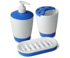 TATAY 6110312 Kristal juego de jabonera, vaso para cepillo de dientes, dispensador de jabón, blanco/azul (3 unidades)