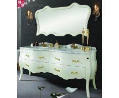 Doble lavabo lavabo de diseño vanidad barroca 180x85x57 Mármol blanco NUEVO