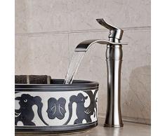 Inchant antiguo Cascada Boquilla sola manija baño fregadero recipiente de latón sólido del grifo de lavabo Toque de inodoro Grifos cuerpo alto níquel cepillado