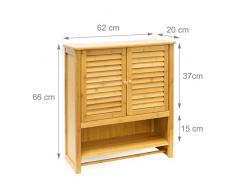Relaxdays - Estante de pared con armario LAMELL, bambú, 66 x 60 x 20 cm, cuarto de baño, 2 puertas color natural