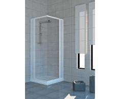 Cabina de ducha con puertas plegables, PVC, 2 lados, 80 x 100 cm