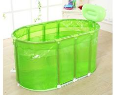 Sunjun& Sauna Baño con bañera plegable Bañera con burbujas Bañera para adultos Soporte de acero inoxidable Barril de baño ( Color : Verde )