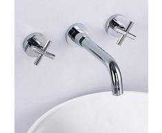 jruia 3 agujeros de montaje en pared – Grifo empotrado baño grifo de 2 Palanca Mezclador de lavabo grifo de pared para lavabo latón cromo caño de 180 cm