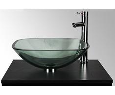 Cuenco cuadrado de cristal transparente Home Supplies – Kit de lavabo para baño lavabo