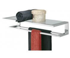 Tiger Items Toallero con Repisa, Estante para Baño y Ducha, 56.8 x 23.2 x 11 cm, Metal, Cromo, Cristal de Seguridad