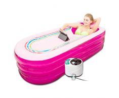 CTEGOOD Bathtub Gruesa bañera plástico Inflable Portátil Sauna de Vapor SPA 1.5L para Aliviar Dolores Musculares, Reducir El Estrés, Control Remoto Temperatura Pink