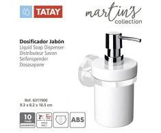 TATAY 6311900 Dosificador jabon en acero inoxidable y ceramica de la colección Martins Glue & Fix