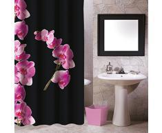 MSV 140800 Lanyu - Cortina de ducha (poliéster y plástico, 180 x 200 x 0,1 cm), color negro