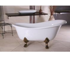 Independiente de baño de lujo Nouveau Roma Blanco / Oro Viejo 1470mm - baño barroco - bañera antigua retro