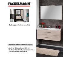 Fackelmann de muebles de baño Set B. Clever de 2 piezas, fresno 120 cm con lavabo armario Incluye fundido (mármol & espejo Element