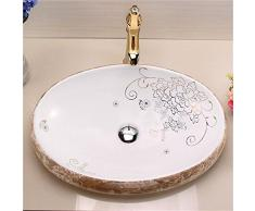 HomeLava Lavabo Sobre Encimera para Baño Lavabo de Cerámica Blanco Ovalado