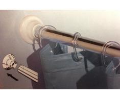 Kleine Wolke 3307100000 - Soporte Final de Pared para Barra de Cortina de Ducha (6 cm, diámetro: 25 mm, 2 Unidades), Color Blanco