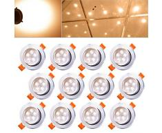 Hengda® 12 x 5W LED blanco cálido 2800-3200k LED Spot Luminaria empotrable en el techo Downlight Set Lámparas Bombilla IP44