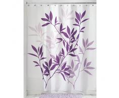 InterDesign Leaves Cortina de ducha | Cortina de baño de diseño de tamaño estándar, 183,0 cm x 183,0 cm | Elegantes cortinas estampadas con dibujo de hojas | Poliéster violeta