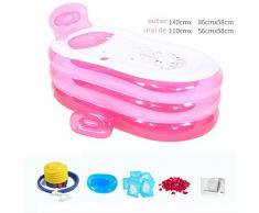 Práctica bañera inflable portátil para niños Inflable Sauna Bañera La bañera Plegable QLM-inflable Bañera y baño inflable (Color: rosa) , pink , 140cm