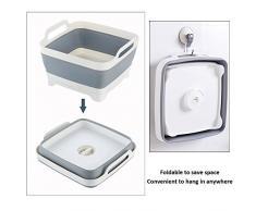 Tina de plato, colgantes de comida plegables colador plegable sobre el fregadero colador de escurridor de plato, escurridor de frutas (Blanco/Gris)