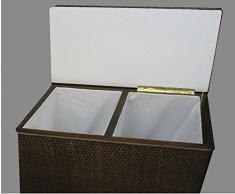 """Cesto para la ropa sucia 2 posiciones de clasificador de taburete de mimbre colour marrón con dos compartimentos para """"Made in Germany"""""""