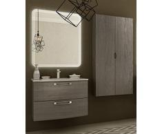 Arredobagnoecucine Mueble de baño suspendido Moderno Comodidad alerce, Medida, con Espejo y Aplique, Lavabo y Columna