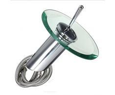Baño Cascada de Mezclador del Lavabo del Grifo del golpecito del Buque Fregadero vanidad bañera grifos de una manija Final del Cromo Redondo de Cristal Abierto del canalón