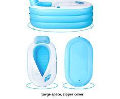 Wanforjewellery Baño Inflable Plegable, baño Infantil para Adultos, Familiar, Familiar, Sauna, baño de plástico más Grueso, baño para bebés (Color: Bule/Rosa),Electricpump,buleM