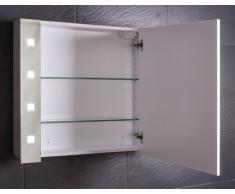 Galdem - Armario de pared con espejo (80 cm, con bombilla T5, cierre suave, enchufe)