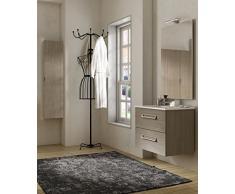 Arredobagnoecucine Mueble baño suspendido Moderno Boston suspendido Alerce, tamaño 75 cm, con Espejo y Aplique LED, Lavabo y Columna