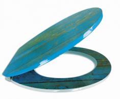 Sitzplatz 40193 7 - Asiento de inodoro con tapa (bajada amortiguada, fácil instalación, superficie brillante), diseño de madera, color azul