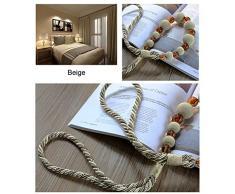1 par diseño con cuentas de cristal y rosca abalorios de madera para cortina de ventana cortinas vinculado cuerda gancho de pared Tie