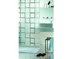 Spirella colección Frame, Cortina de Ducha Textil 180 x 200, 100% Polyester, Negro, PEVA