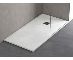 Plato ducha resina antideslizante textura pizarra Smooth Bricodomo 70x160 Blanco