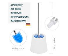 Azul Escobilla de ba/ño higi/énica de Acero Inoxidable LOOMAID Escobilla WC de Silicona con Efecto Flor de Loto Soporte Transparente