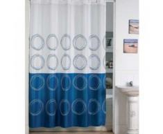 MSV 140825 -, poliéster cortina de ducha y plástico polipropileno, 180 x 200 x 0,1 cm, incl. 12 anillos, azul (weiss/blau)
