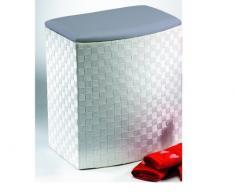 Rattan im Trend - Cesto para la colada pequeño (nailon, taburete), color blanco