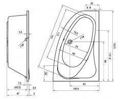 Riho - Bañera de acrílico esquina izquierda lyra 153 x 100 cm