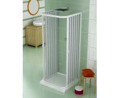 Mampara, cabina de ducha, tamaño: 80 x 90 x 80 cm, h 185 cm, de PVC, Central de apertura, 2 203, Color blanco