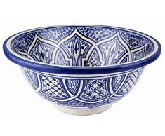 Lavabo de baño marroquí de cerámica de Fes Marrakech color Azul cobalto , pintado a mano - Circular, pintado desde dentro hacia fuera - diámetro 40cm Altura: 16cm