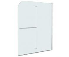 vidaXL Mampara Ducha 1 Hoja Plegable Pivotante + 1 Hoja Fija Vidrio Seguridad Cristal Templado ESG Cabina Baño Transparente Cierre Lateral Bañera