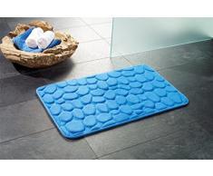 """Alfombrilla de baño // Alfombrilla de baño con diseño """"London"""" de piedra - con aspecto de madera de!, azul claro, 50 x 80 cm"""
