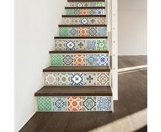 Walplus WT1522 - Adhesivo Decorativo para Pared (Porcelana, 15 x 15 cm, 24 Unidades), Diseño de Azulejos, 15 x 15 x 0,02 cm