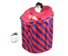 Sauna Steamer, máquina de Vapor Sauna portátil de 2L con Caja de Sauna Inflable Plegable para el hogar, Franja roja Azul para SPA en el hogar(Enchufe UE 220V)