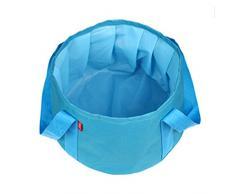 BEETEST Múltiples funciones al aire libre viajes Camping Senderismo 15L portátil plegable agua cubo bañera Azul