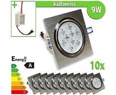 1 x foco de pared bombilla de 9 W escuadra de focos para lámpara de techo empotrable, Blanco frío 9.0|wattsW