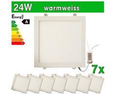 LEDVero SMD 2835 7 x ultrafina Panel LED, 24 W, cuadrado lámpara de techo empotrables en foco, luz blanca cálida SP248