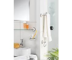 axentia Capri, accesorio decorativo baño, toalla de manos Ganchos doble a la pared montaje, soporte cromada con dos ganchos, acero inoxidable, plata, 8 x 8 x 9 cm