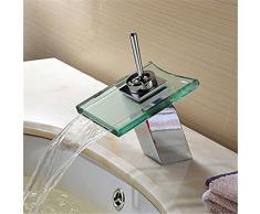 Inchant moderna sola manija de cristal del canalón de baño cascada grifo del fregadero del final del cromo de la Cuenca del orificio de grifo mezclador grifos para lavamanos de los vasos vanidad grifo de lavabo
