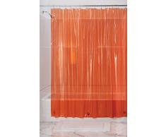 mDesign Revestimiento interior de vinilo, para cortina del cubículo de ducha; espesor 4,8, impermeable - 183 cm x 183 cm - Naranja quemado